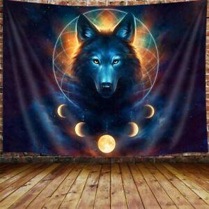 Wolf Tapestry, animal Universe Galaxy Moon Dreamcatcher hippie Art Tapestry