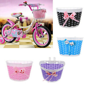 Bicycle Basket Children Bike Plastic Knitted Bow Knot Front Handmade Bag