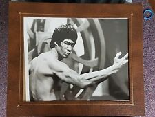Vintage Bruce Lee Celebrity Action Black and White Glossy Photo in Frame