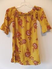 e91f3dc67a4 Old Navy Womens XS Rayon Gold Floral off Shoulder 3/4 Bell Sleeve Dress
