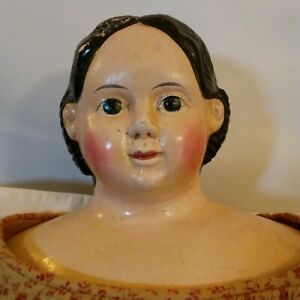 "Greiner 1858 Label Paper Mache Head 30"" Leather Arms Cloth Body Antique  Doll"