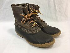 VTG LL Bean Classic Duck Hunting Mens 6 Womens 8 Boots Dark Brown Leather Rubber