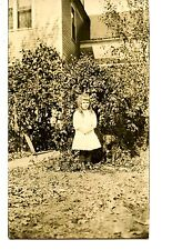 Cute Little Girl-Pet Dog-Pipecurls-Outdoors-RPPC-Vintage Real Photo Postcard