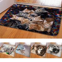 DV_ Dog Cat Door Mat Coral Velvet Floor Rug Non-slip Pad Home Doormat Carpet Eye