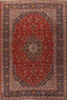 Traditional Semi Antique Floral Area Rug Hand-Knotted Classic Wool Carpet 10x13