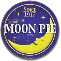 Moon Pie Round Logo Retro Kitchen Cafe Snack Lunch Wall Art Decor Metal Sign