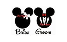Mickey and Minnie (Bride & Groom). Wedding. Counted Cross Stitch Kit.