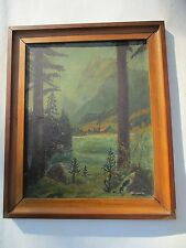 ANTIQUE LANDSCAPE  OIL PAINTING  MOUNTAINS TREE'S RIVER SIGNED