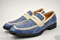 FARANZI Men's Blue Casual Shoes Slip On Dress Loafers High Quality F4825