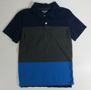 Cherokee Polo Shirt Boys Size Medium 8-10 Blue Striped Short Sleeve Shirt