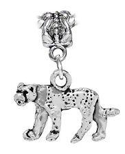 Leopard Cheetah Big Cat Zoo Wild Animal Dangle Charm for European Bead Bracelets