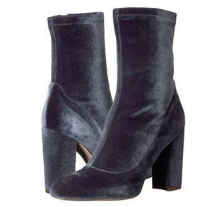 NWOB $140 Sam Edelman Calexa Ankle Velvet Boots Sock Booties Size10 Zipper Gray