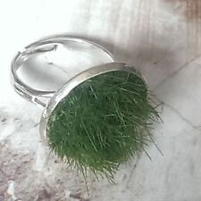 Unique GRASS RING chrome LAWN gardener GARDEN handmade 3D wild NATURE wildlife