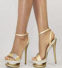 Damenschuhe Gold 35-40 Plateau Strass NEU Pumps Damen Schuhe Party High Heels
