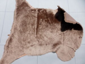 sheepskin shearling leather hide Coffee Brown silky hair w/Matching smooth back