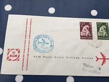 Netherlands KLM 1st flight to Amman from Amsterdam FDC 30.4.1960 from Utrecht
