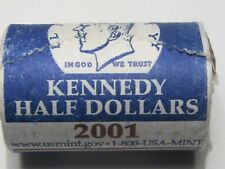 BU 2001-d US Mint JFK Kennedy Half Dollar Clad Roll.  #36