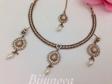 NEW NECKLACE EARRING SET GOLD TONE WEDDING INDIAN COSTUME JEWELLERY