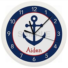Navy And Red Anchor Wall Clock Nursery Decor Children'S Personalized Nautical