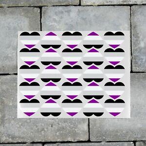 25 x Asexual Flag Heart Stickers Decals LGBTQ Pride - 37mm x 30mm - SKU7154