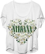 Nirvana-Floral Heart Logo-Womens-Large Dolman Style White-Polyster Blend T-shirt