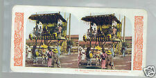 STEREOSCOPE SLIDE Matsuri Festival Dancers Yokohama 1905 stereoview colour