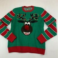 Ugly Christmas Sweater RUDOLPH Size medium Poms Holiday mens womens adult