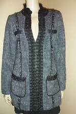 WHITE HOUSE BLACK MARKET Braided Chain Tweed Ruffle Collar Jacket 10