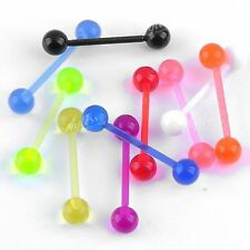 10x Mix Color UV Plastic Ball Lip Chin Labret Rings Barbell Studs Earring Hot