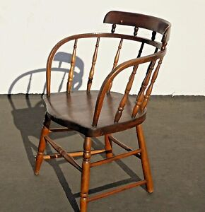 Antique Firehouse Windsor Rustic Wood Accent Arm Chair French Country