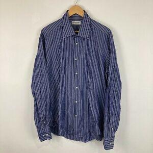 Yves Saint Laurent Mens Button Up Shirt Size 45 2XL Blue Striped Long Sleeve