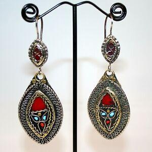 Große ethnische Ohrringe im afghanischen Stil, Rote Hippie Boho Ohrringe