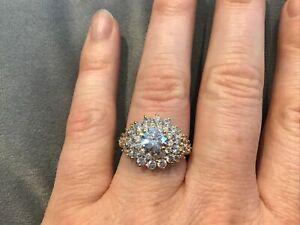 2.4 Carat Diamond Brilliant Round Cluster Engagement Ring 9k Gold Finish Size P