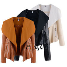 Long Sleeve Plus Size Women's Casual Biker Coat Imitation leather Jacket Outwear