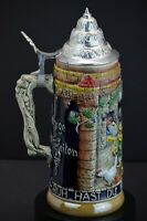 Tall German Beer Stein with Pewter Lid