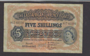 5 SHILLINGS FINE BANKNOTE FROM BRITISH EAST AFRICA 1953 PICK-33