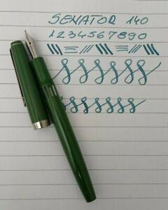 SENATOR 140 Green Fountain Pen SS Flexy Nib Vintage Rare Color in Leather Pouch