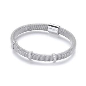 J JAZ Tanya Sterling Silver Milgrain Tubular Cubic Zirconia Bracelet Bangle