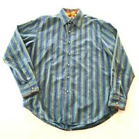 Robert Graham Button Down Shirt Size L Striped Multi Color Flip Cuff Casual Mens
