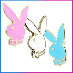 Famous PLAYBOY BUNNY   White Pink Blue   Quality Enamel Pin Badge Brooch   UK