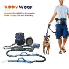 Adjustable Hands Free Dog Lead Walking Running Jogging Waist Belt Leash + Bag UK