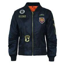 Girls Boys Children Ma1 Badges Bomber Jacket Kids Coat Army Military Padded 7-13 Age 11-12 Navy
