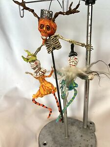 """HANDMADE CREEPY HALLOWEEN PUNKIN SKELLY SCARECROW WITH SKELLY DANCERS  9 1/2"""""""