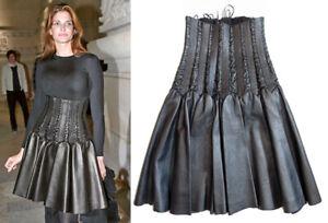 Alaia Black Lamb Leather Corset Lace-Up High Waist Skirt  Size 38