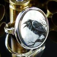 Raven Full Moon Gothic Halloween Crow Handmade Sterling Silver Ring