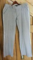 Proenza Schouler Women's Pants Size 11 Navy White Pinstripe Satin Side Stripe