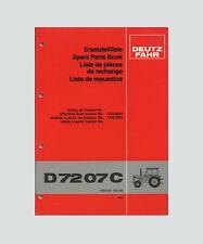 DEUTZ FAHR D 7207 C Schlepper Ersatzteilliste  Original 1981