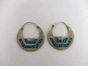VINTAGE TAXCO MEXICO SIGNED FAC STERLING SILVER TURUOISE FLAT HOOP EARRINGS