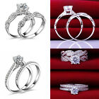 2Pcs Women ELEGANT Engagement Wedding Cubic Zirconia Silver Plated Ring Set