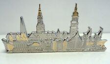 Germany Skyline Tie Clip - Rhodium, Gilded parts, Crocodile Clip